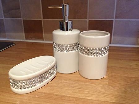 WHITE DIAMANTE 3 PC BATHROOM ACCESSORY SET CERAMIC SOAP DISPENSER SOAP DISH  U0026 TUMBLER