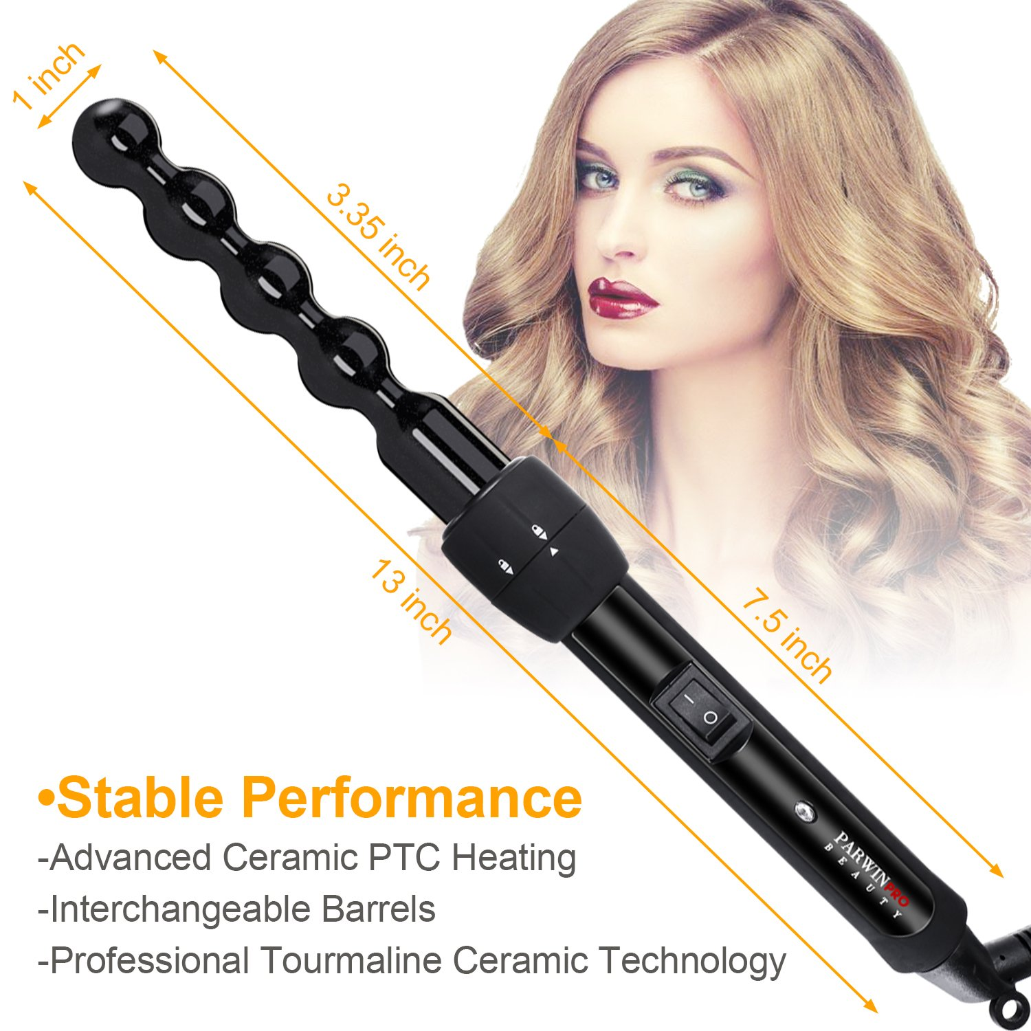 PARWIN BEAUTY Curling Wand 5 in 1 Professional Curling Iron Set 0.3 to 1.25 Inch Interchangeable Ceramic Barrels Hair Curling Iron Wand - Hair Curler for All Hair Types with Glove and Travel Case by PARWIN PRO BEAUTY (Image #6)