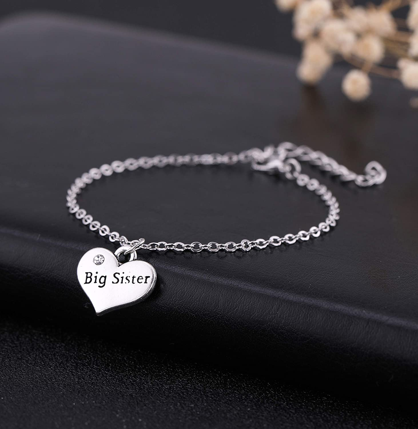 cooltime Silver Heart-Shaped Little Sister-Middle Sister-Big Sister Charms Bracelet Birthday Gifts for Her