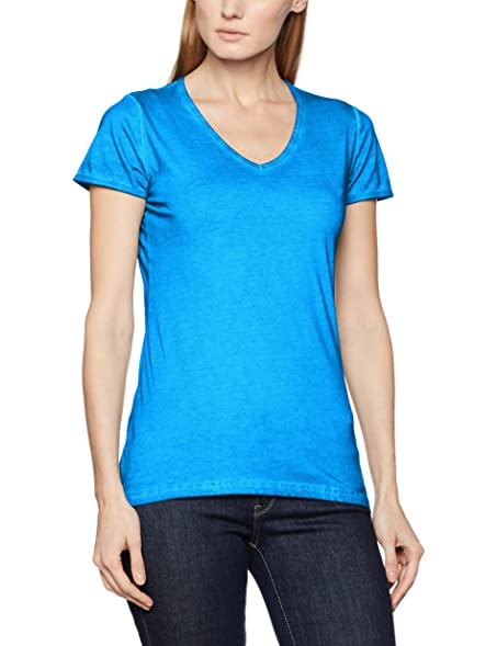 James & Nicholson Women's Ladies' Gipsy T-Shirt, Blau (Atlantic),