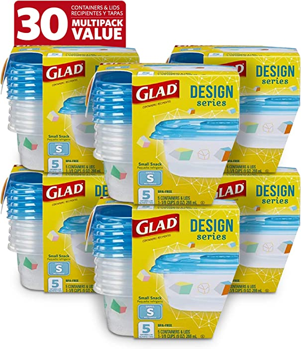 Glad Food Storage Containers, 5 Count (Pack of 6), Design Series, 6