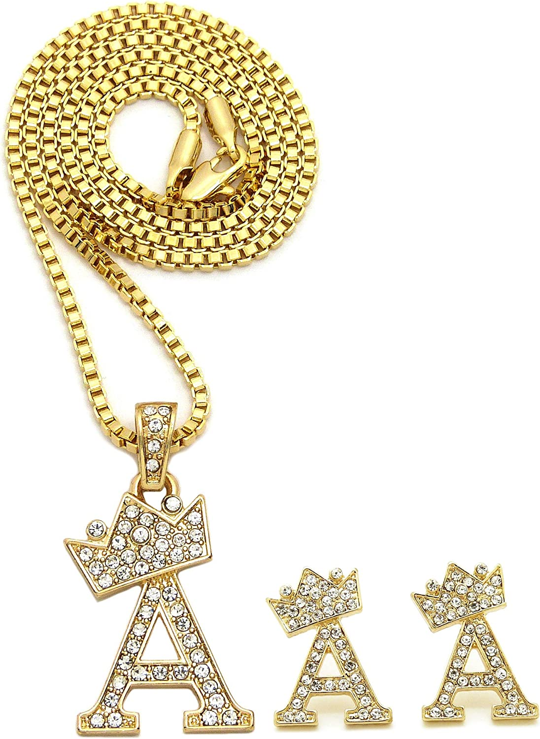Ashley Jewels Simulated Diamond Studded Fashion Initial Alphabet Letter G Pendant Necklace in 14K Yellow Gold Plated With Box Chain