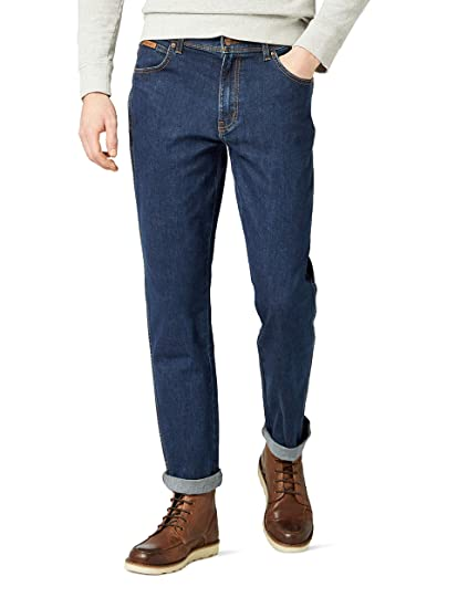 12c61d57 Wrangler Men's TEXAS - CONTRASTS Straight Fit Jeans, Blue (Darkstone  Stretch 009),