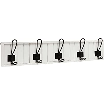 Amazon.com: Decorative Wall Mounted White Wood & 5 Black Metal ...