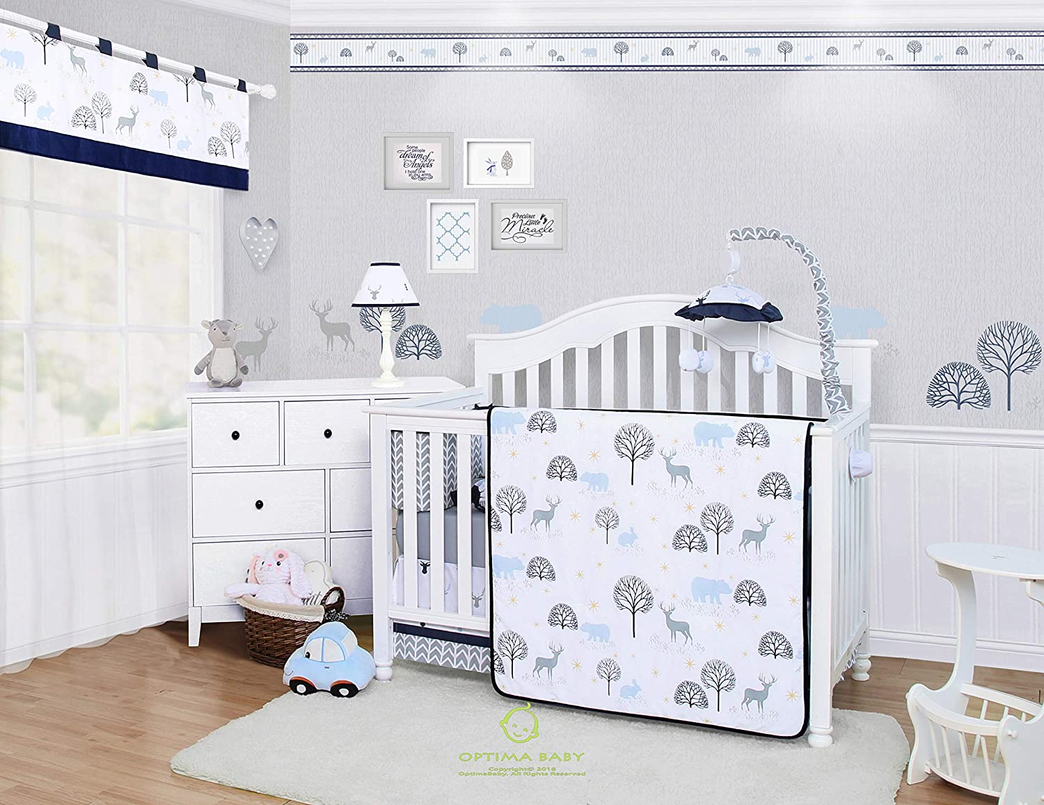 OptimaBaby Woodland Forest Deer 6 Piece Baby Nursery Crib Bedding Set SZ-CF-611