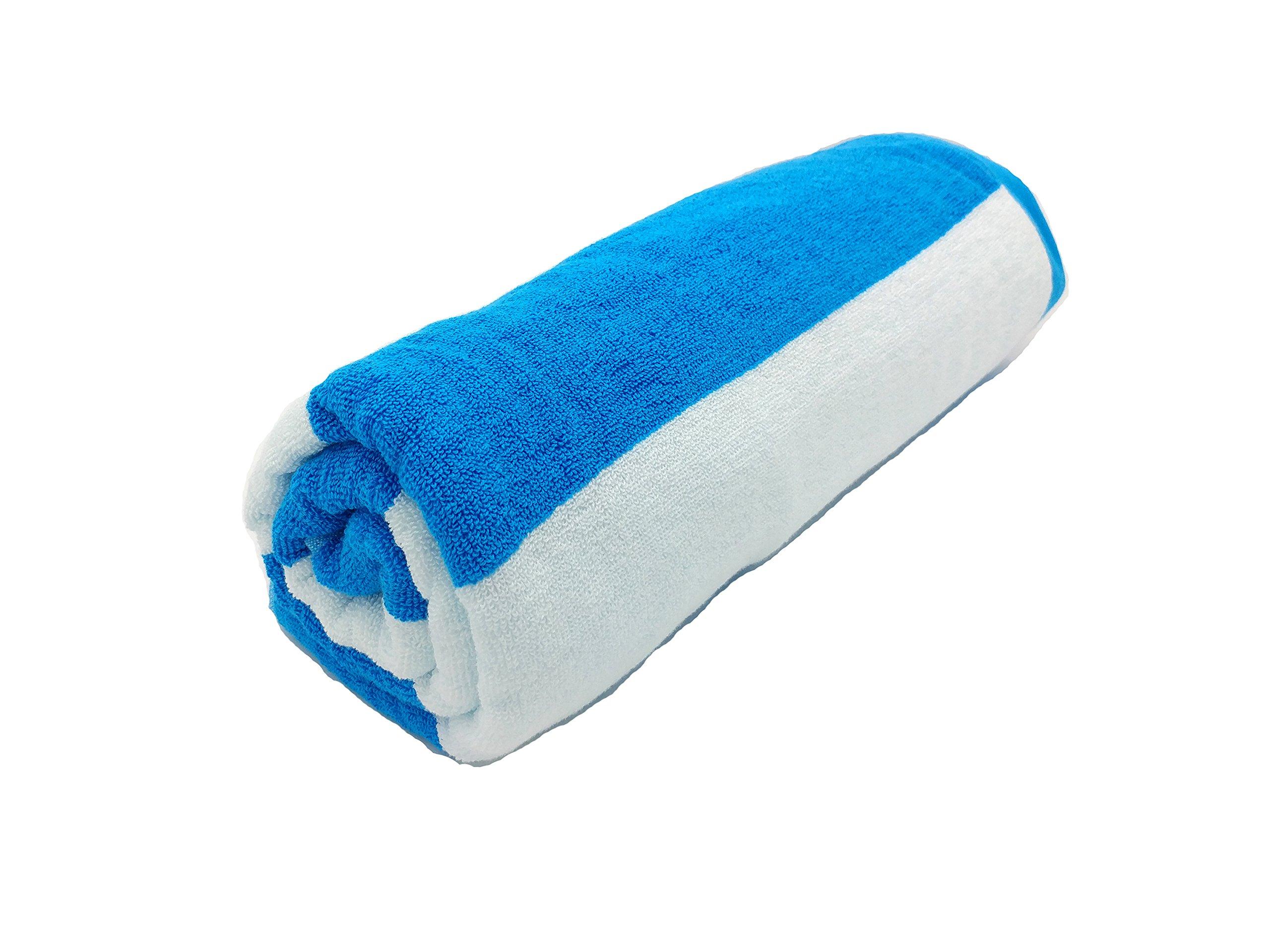 byLora Terry Cotton Cabana Beach Towels, AQUA/WHITE