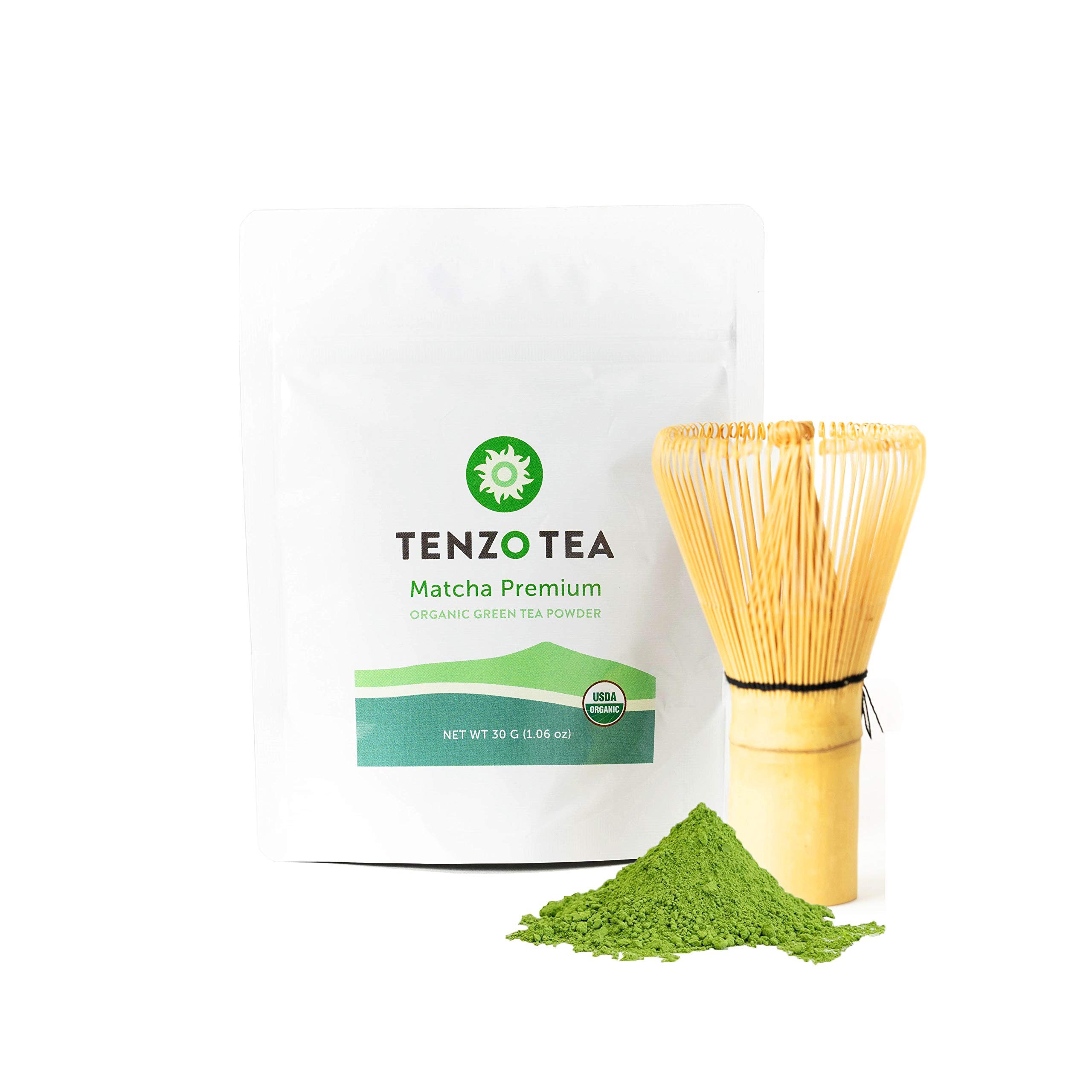 Tenzo Tea (Whisk Included in Box) - Ceremonial Grade Matcha Green Tea Powder (For Sipping as Tea) - USDA Organic, Kosher, Vegan, Paleo/Keto Friendly (30 Gram + Whisk)