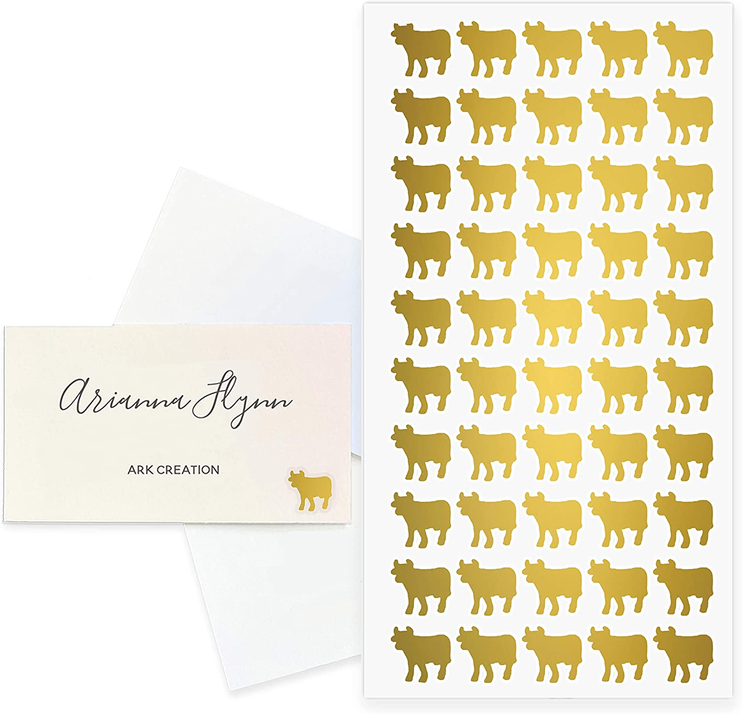 ARK Creation 50 Wedding Meal Stickers for Place Cards - Place Card Menu Choices - Wedding Meal Choice Stickers (Gold, Beef)