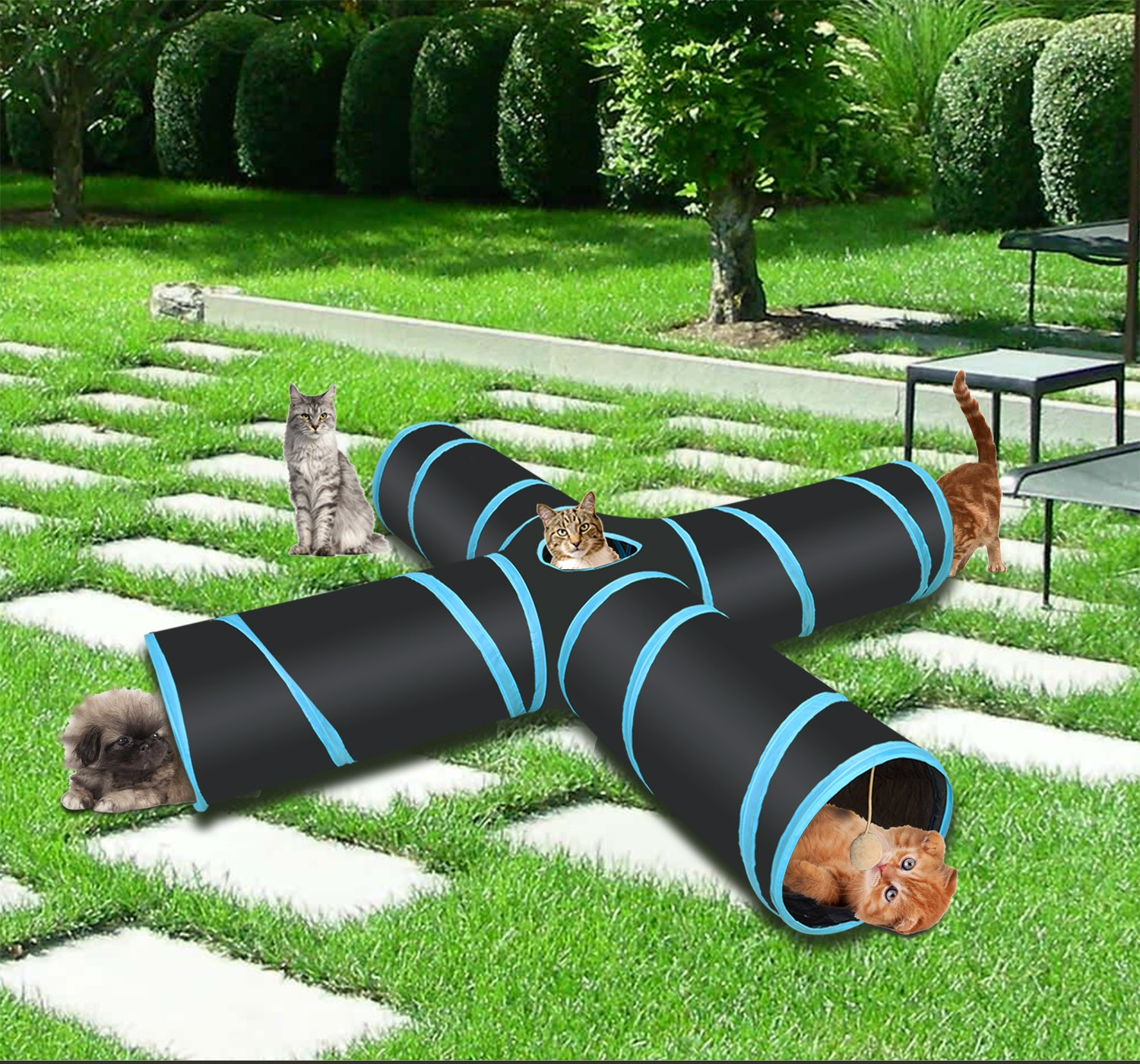 Pet Cat Tunnel, Cat Toys,Portable Tubes Collapsible, 4 Way Crinkle Cat Toy Cube&Storage Bag Catnip a Bell Toy for Large Cats Dogs Rabbits Indoor Outdoor Use by IKAAMA