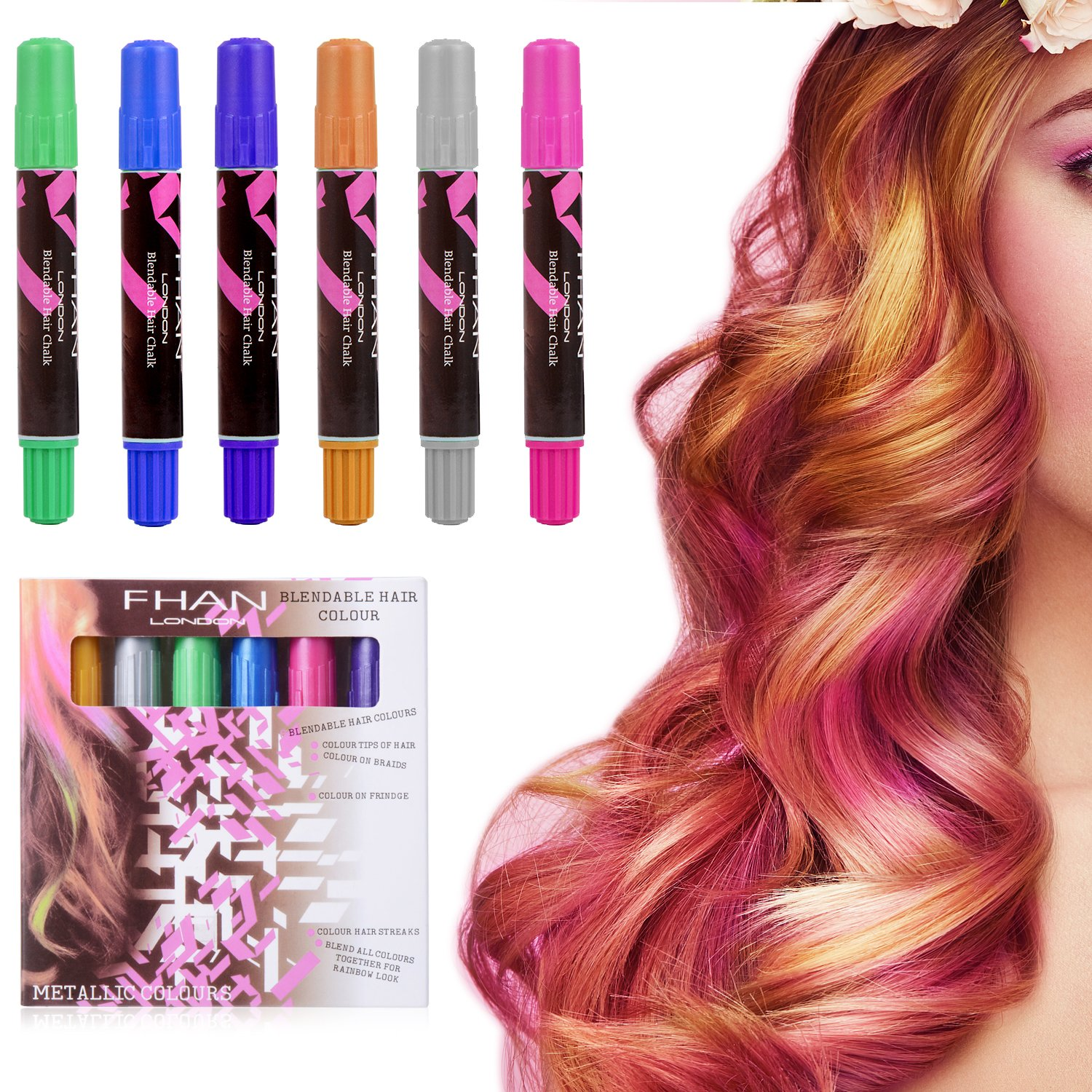 Best Hair Coloring Products: Ameauty Hair Chalk, 6 Colorful Non ...