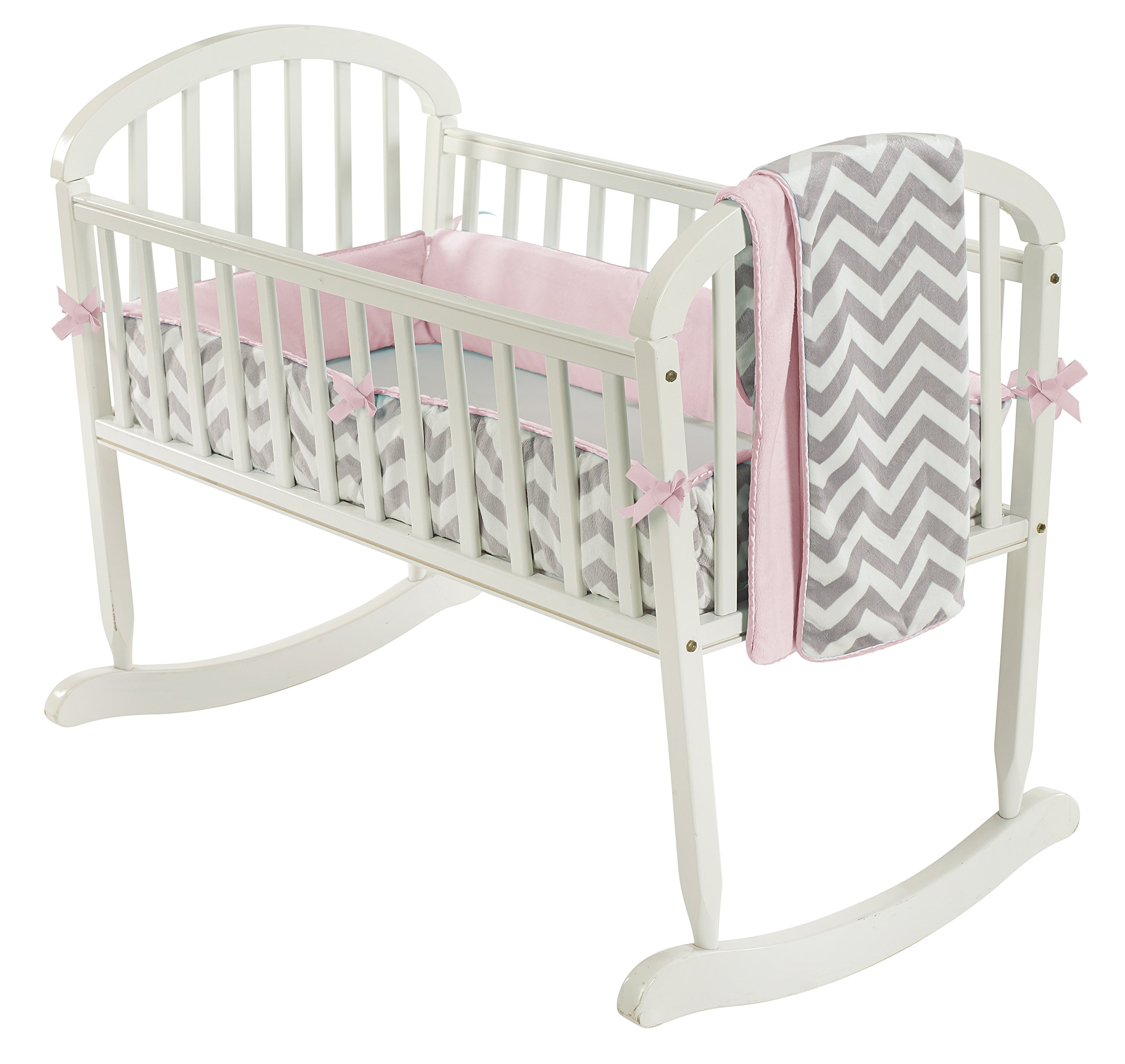 Baby Doll Bedding Minky Chevron Cradle Bedding Set, Pink