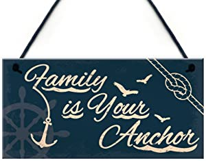 XLD Store Seaside Family is Your Anchor Shabby Chic Hanging Plaque Nautical Theme Bathroom/Kitchen Decor Gift Accessory