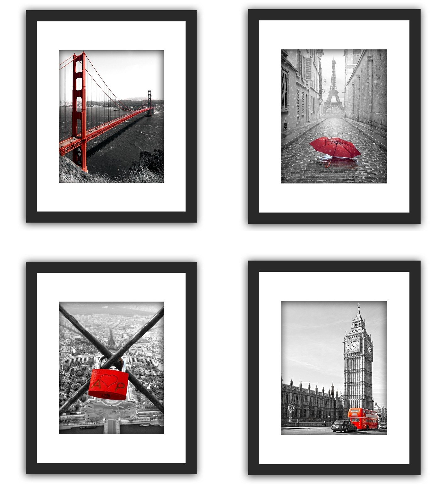 SmartWallStation 4Pcs 1Pcs 11x14 Tempered Glass Wood Frame Black White, with 3X Mat Fit 8x10 5x7, 2 Holes 4x6 inch Family Kid Photo, Wall Horizontal Office Sea Beach Flower (9 Set Pictures) (1) by SmartWallStation