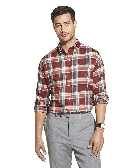 Van Heusen Camisa de Cuadros elastizada con Botones y Mangas ...