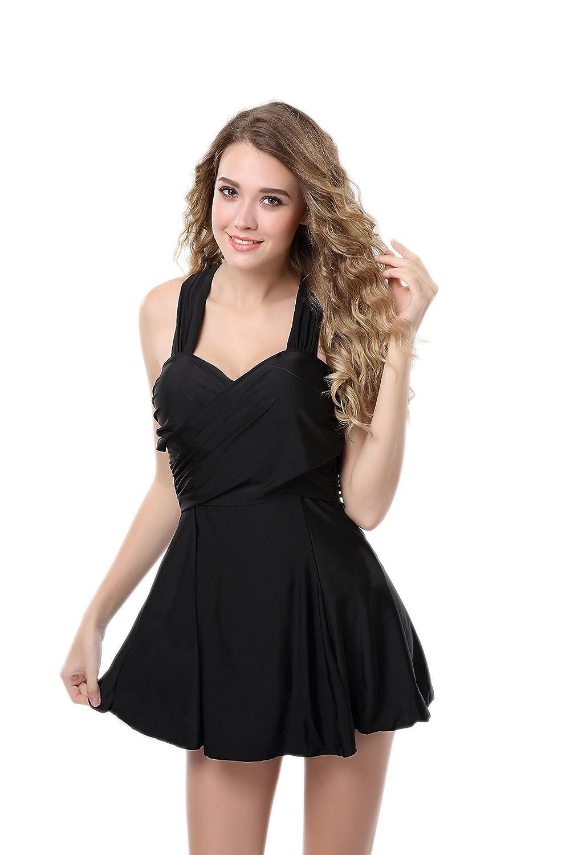 SZIVYSHI Damen Sexy Eleganter Figurumspielendes Push Up Badeanzug Kleid Monokini Röckchen 5 Farben