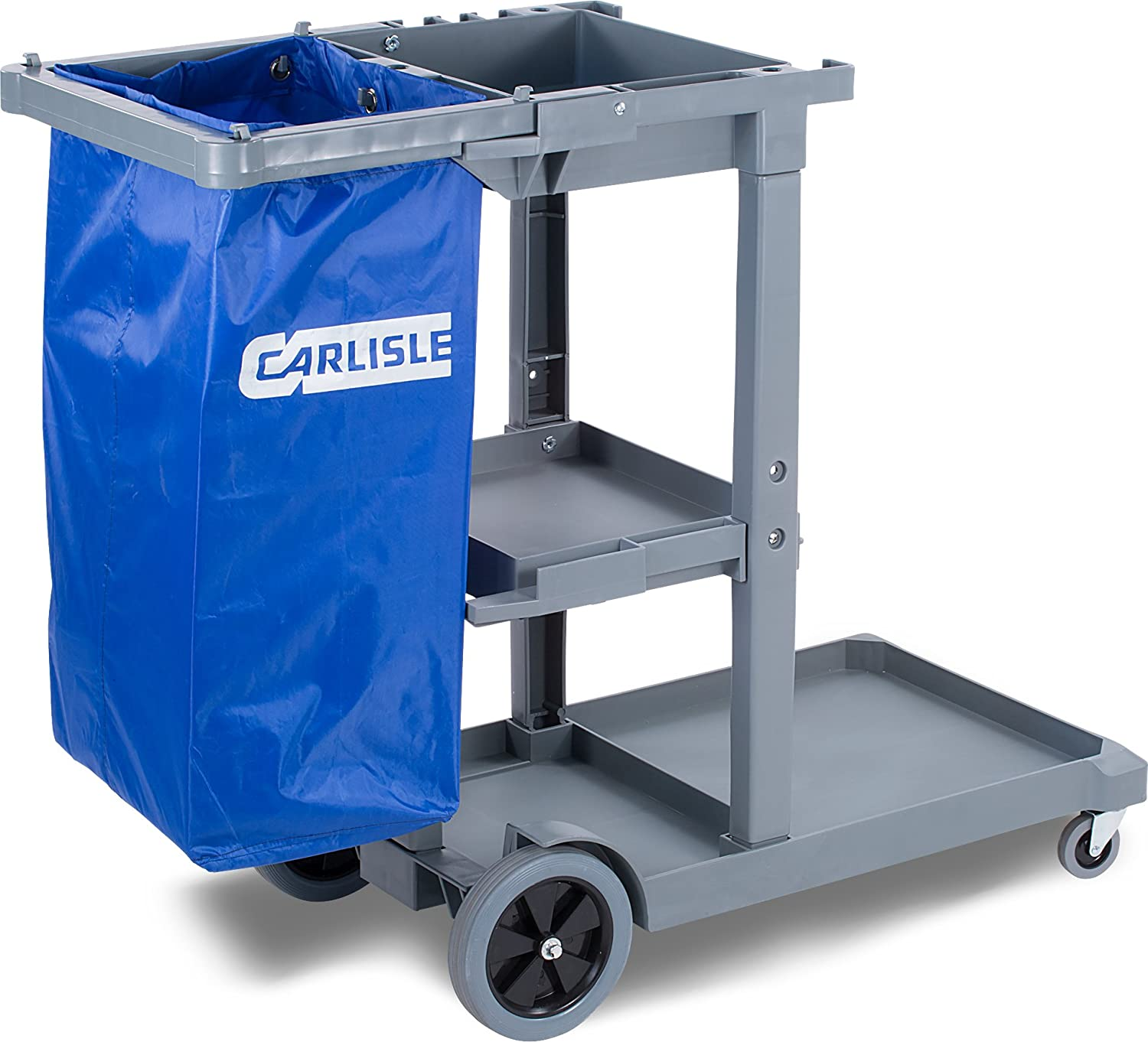 "Carlisle JC1945L23 Polyethylene Long Platform Janitorial Cart, 300 lbs  Capacity, 49"" Length x 19"" Width 39"" Height, Gray: Utility Carts:  Amazon.com: ..."