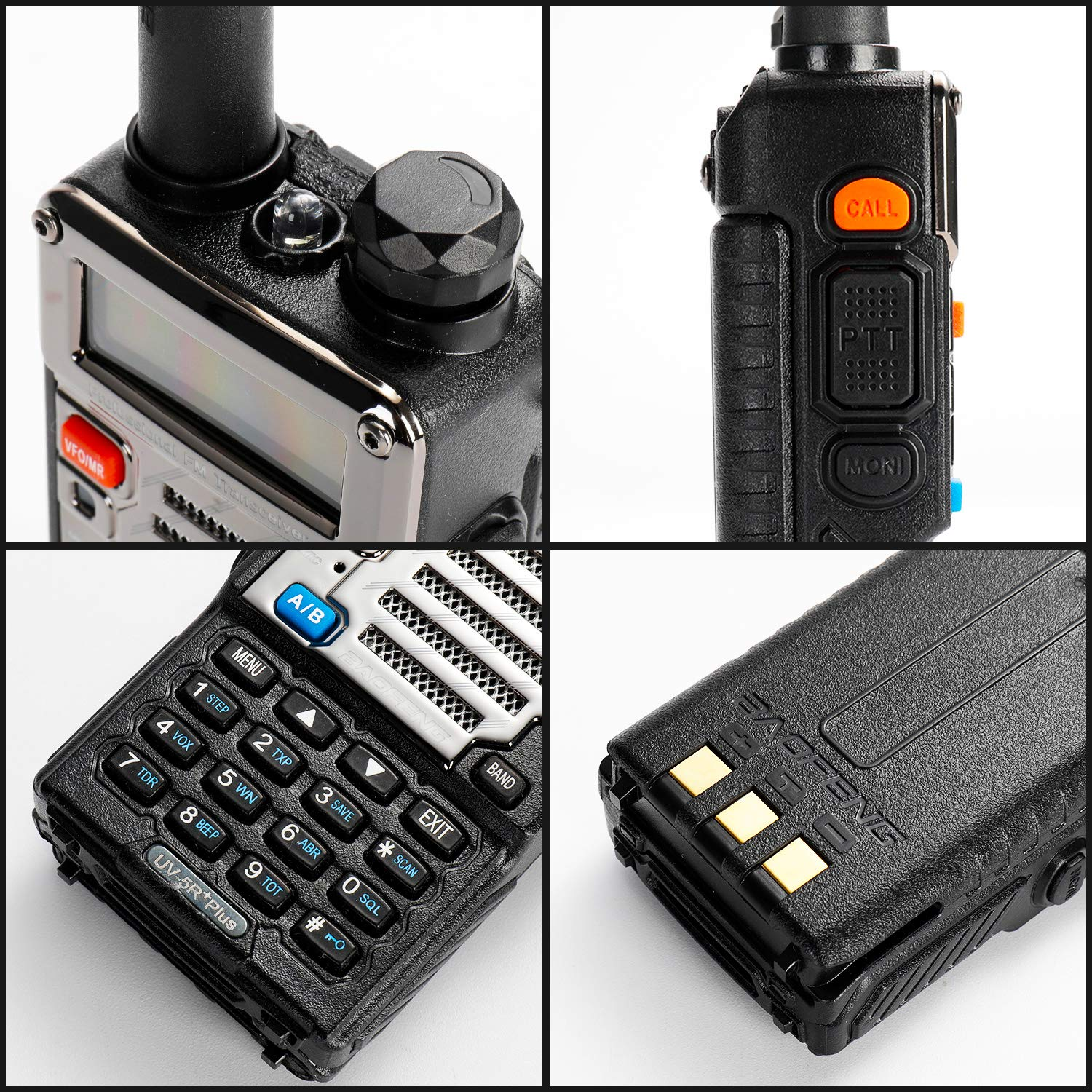 1 Baofeng Programming Cable 5 Pack BaoFeng UV-5R Plus UHF VHF Dual-Band Two Way Radio Black Support Win7, Win10