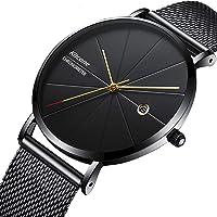 Bonjour Date & Time Analog Black Dial Blue Shade Dual Tone Glass On Dial Men Watch -Bon_1