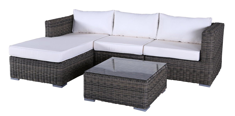Polyrattan Lounge Ecksofa Tropez (Braun)