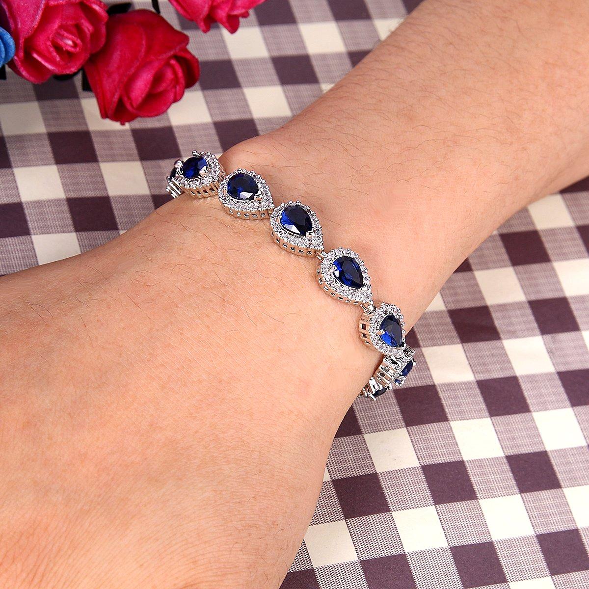 BriLove Women's Wedding Bridal Jewelry Set Y-Necklace Tennis Bracelet Dangle Earrings Set with Teardrop CZ Infinity Figure 8 Sapphire Color Silver-Tone September Birthstone by BriLove (Image #3)