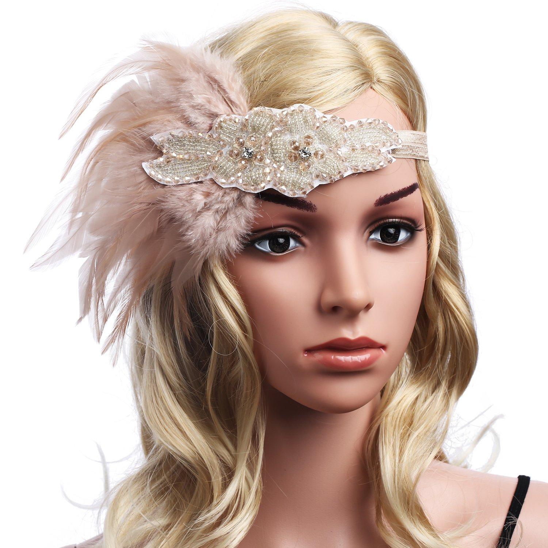 fe944849d99e99 ... BABEYOND Frauen Kristall Haarband Perlen Stirnband Federn Flapper  Stirnband Vintage Stirnband 1920 BABEYOND-H- ...