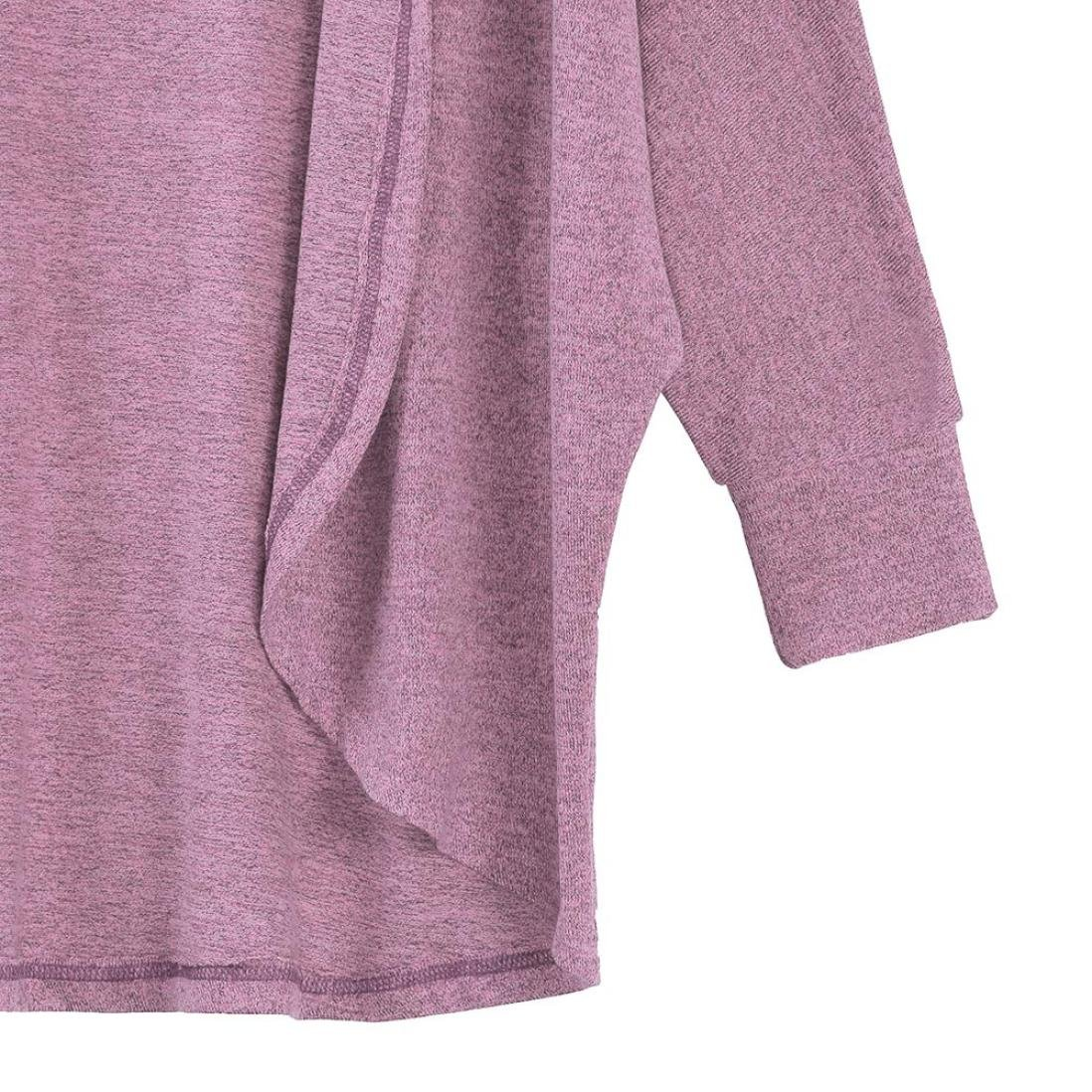 Hot Sale!Women's Cardigans Neartime Womens Kintted Cardigan Asymmetric Sweater Hem Long Sleeve Coat Tops (L, Pink) by NEARTIME (Image #6)