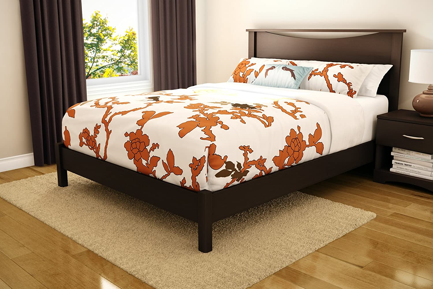 Pictures of platform beds - Amazon Com South Shore Sandbox Collection 60 Inch Queen Platform Bed Chocolate Kitchen Dining