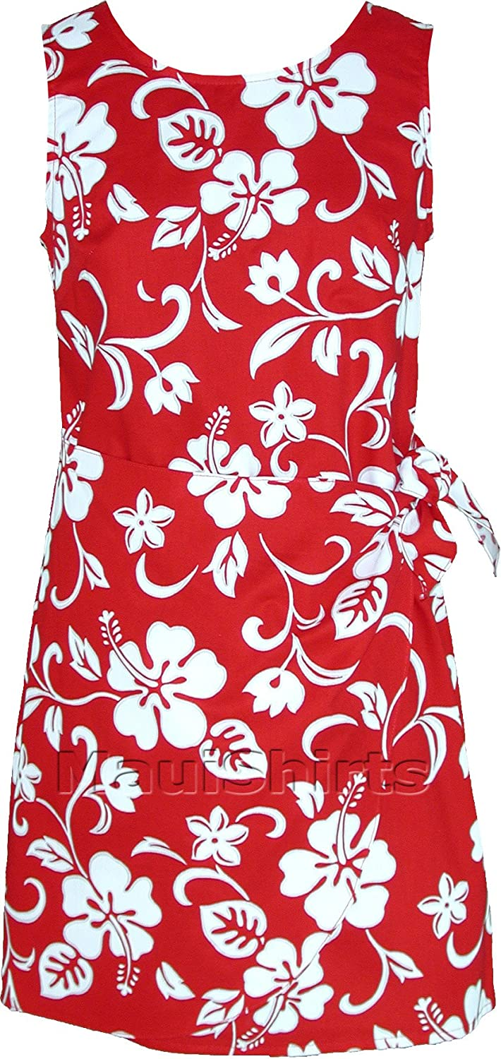 RJC Women's Classic Hibiscus Hawaiian Mock Wrap Sarong Dress MS_W152SQK