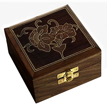 Amazoncom Wooden Jewelry Box Handcrafted Floral Art Inlay 4x4x225