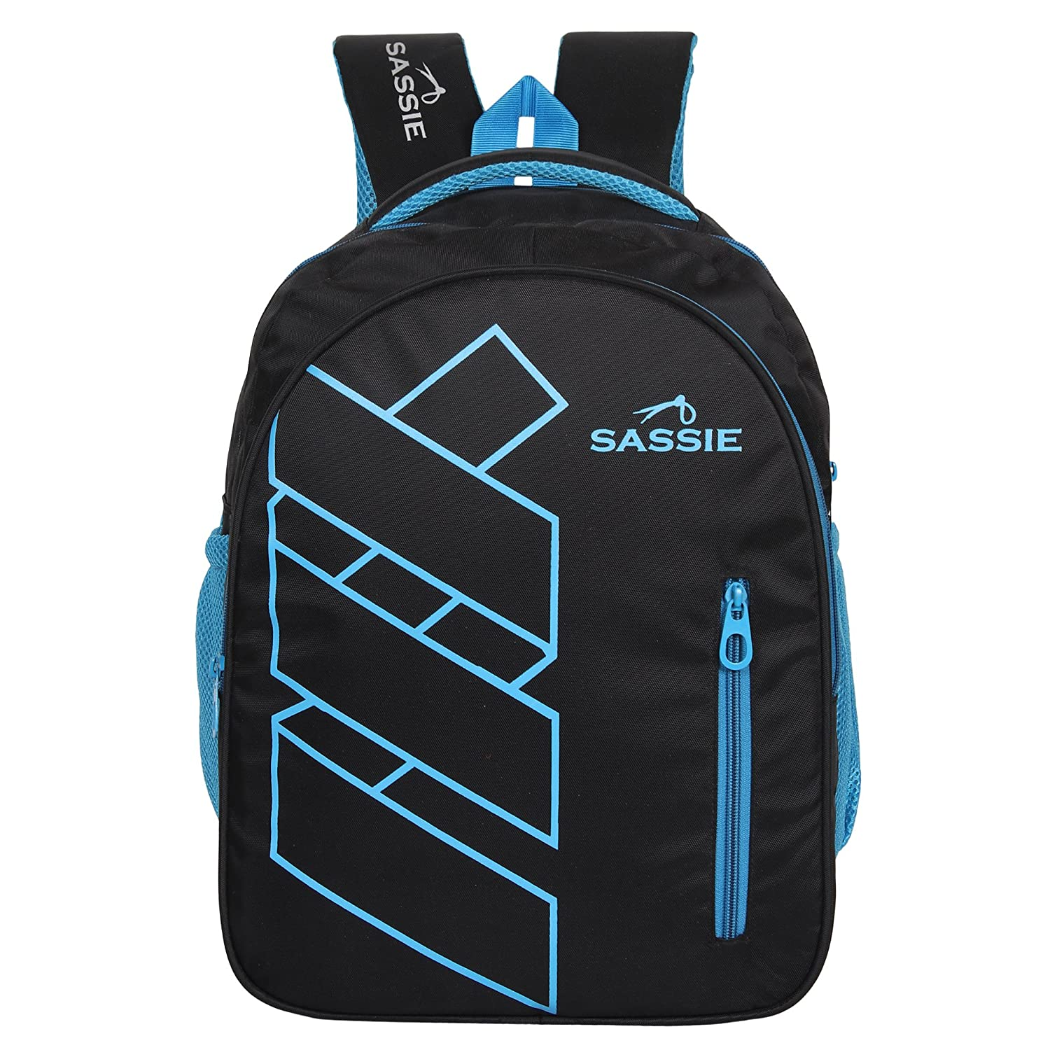 Sassie Polyester 41 L Black Blue School And Laptop Bag With