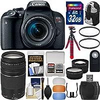 Canon EOS Rebel T7i Digital SLR Camera and EF-S 18-55/STM/75-300 mm Lens/32GB Card/Backpack/Tripod/Filters/Tele/Kit (black)