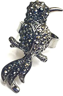 CloseoutWarehouse Oxidized Sterling Silver Sparrow Bird Ring