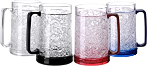 BC Inter Double Wall Gel Frosty Freezer Ice Mugs Clear Set of 4 (White black red and blue)