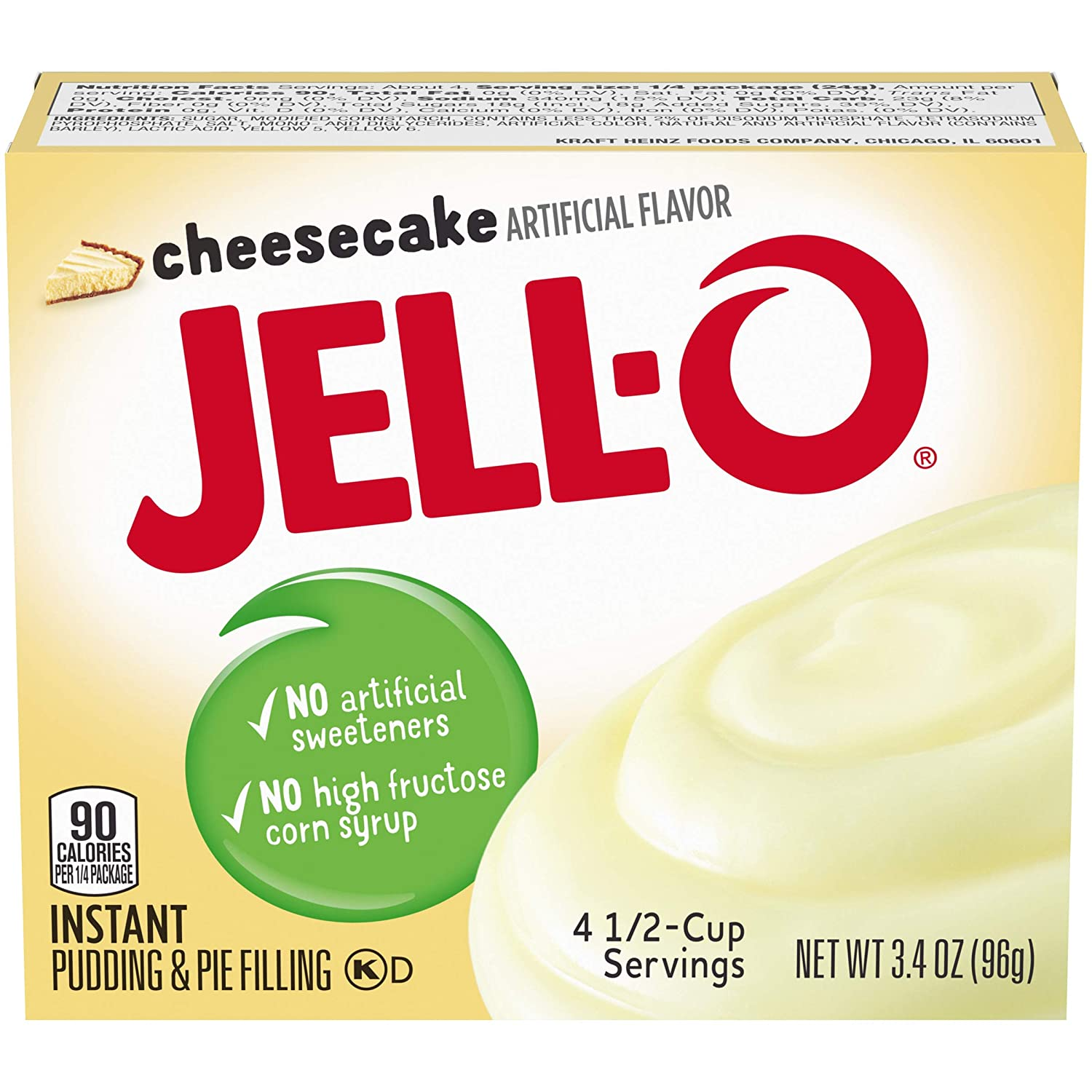 JELL-O Instant Pudding & Pie Filling Mix, Cheesecake, 6 Count, 20.4 Ounce
