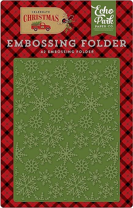 Red//Green//Tan//Burlap//Black Echo Park Paper Company CCH159031 Snow Flurry Embossing Folder
