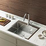 Bonnlo 25 Inch Drop in Kitchen Sink, Workstation Sink, Topmount Kitchen Sink 18 Gauge, Stainless Steel Kitchen Sink with Dish