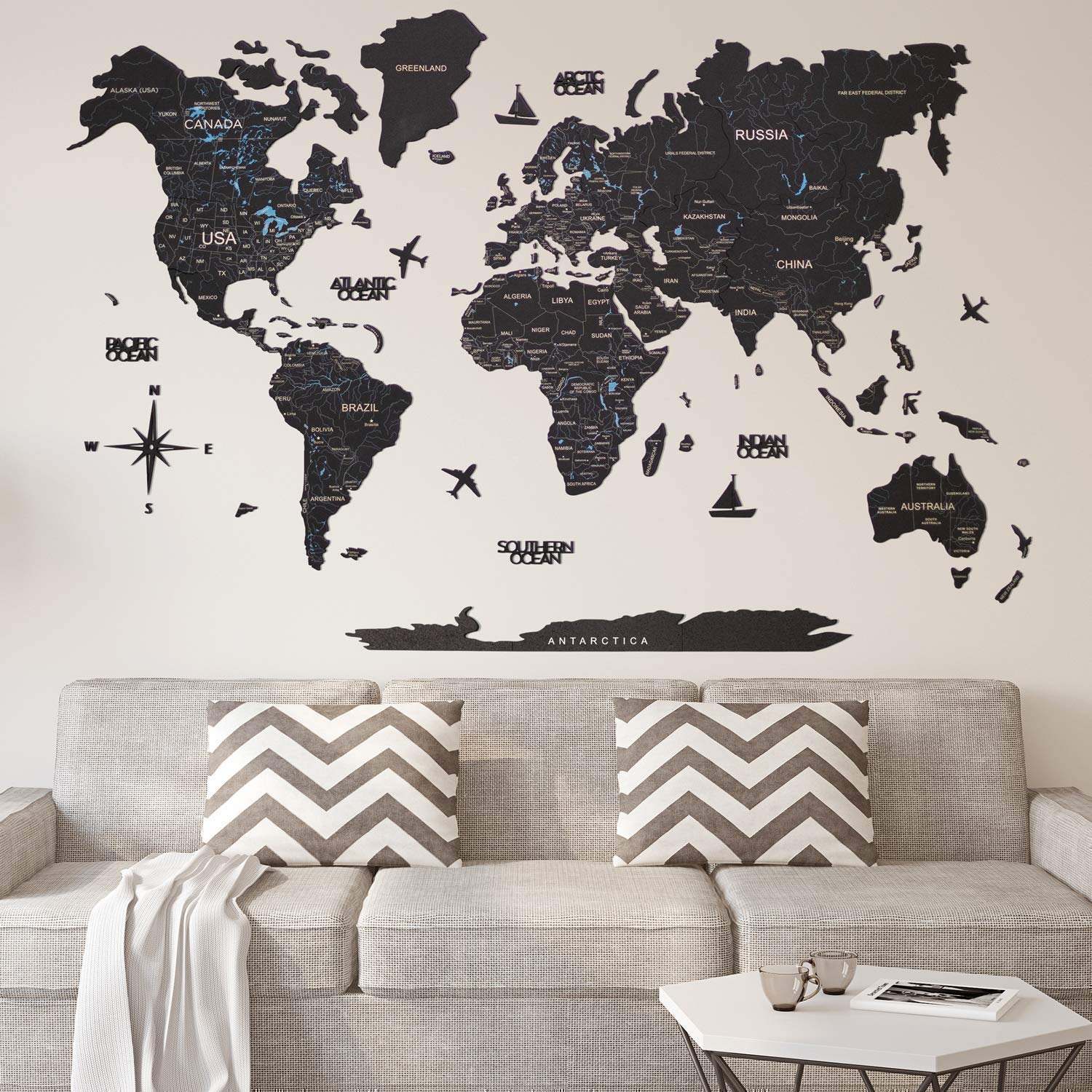 Black Cork World Map Wall Art Large Wall Decor - World Travel Map ALL Sizes (M L XL) Any Occasion Gift Idea - Wall Art For Home & Kitchen or Office