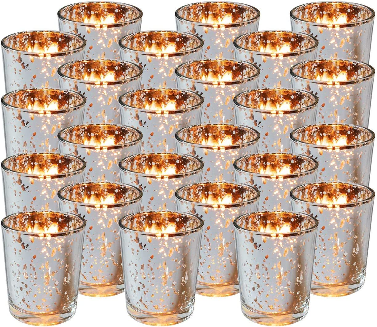 Royal Imports Silver Mercury Glass Votive Candle Holder, Table Centerpiece Tealight Decoration for Elegant Dinner, Party, Wedding, Holiday, Set of 24 (Unfilled)