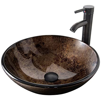ELECWISH Bathroom Vessel Sink With Faucet Mounting Ring And Pop Up Drain  16.5 Inch Tempered Glass