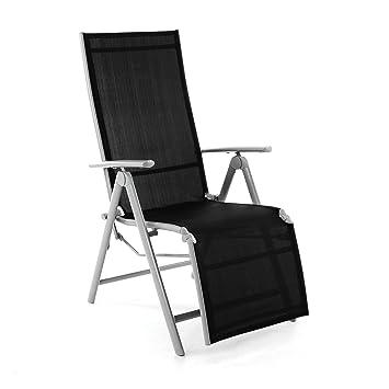 Nexos ZGC34464 Silla, Tumbona Plegable con reposapiés para jardín, terraza, de Aluminio y Textil, Color Negro Plata