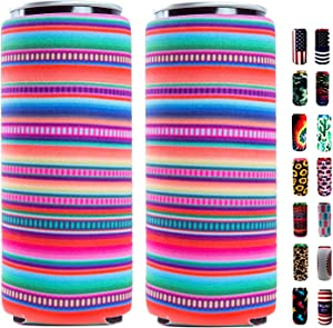 Slim Can Sleeves - Neoprene Bottle Insulator Sleeve Set of 2 Can Beverage Coolers for 12oz Energy Drink & Beer Cans (Stripe)