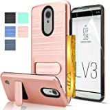 LG Aristo Case, LG Phoenix 3 / Fortune / K8 2017 / MS210 / M210 / Risio 2 / Rebel 2 LTE Case with HD Screen Protector,AnoKe [Card Slots Holder][Wallet] Kickstand Hybrid Case for LG LV3 KC1 Rose Gold