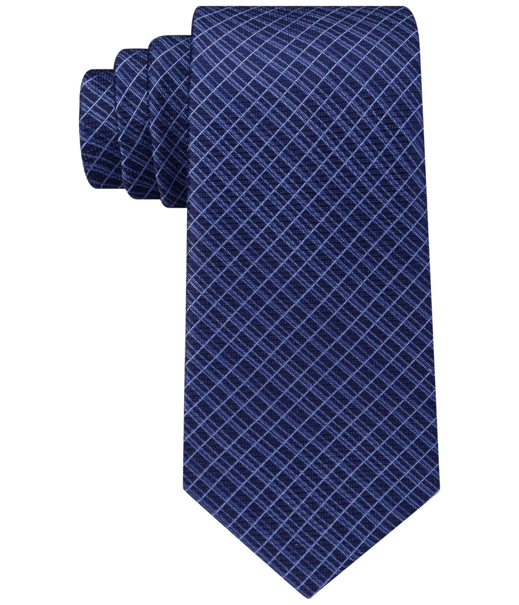 Kenneth Cole Mens Grid Necktie Blue One Size