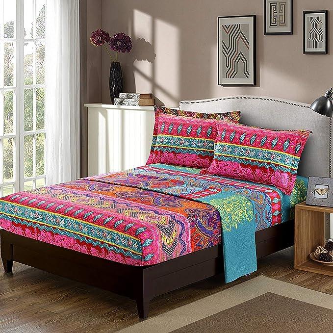 Boho Sheet Set Full Size Bohemian Bed Sheets Set 4 Piece Super Soft Microfiber Colorful Tribal Striped Sheets Deep Pocket Boho Fitted Sheet Bohemian Flat Sheet Retro Decor 2 Pillow shams Adult