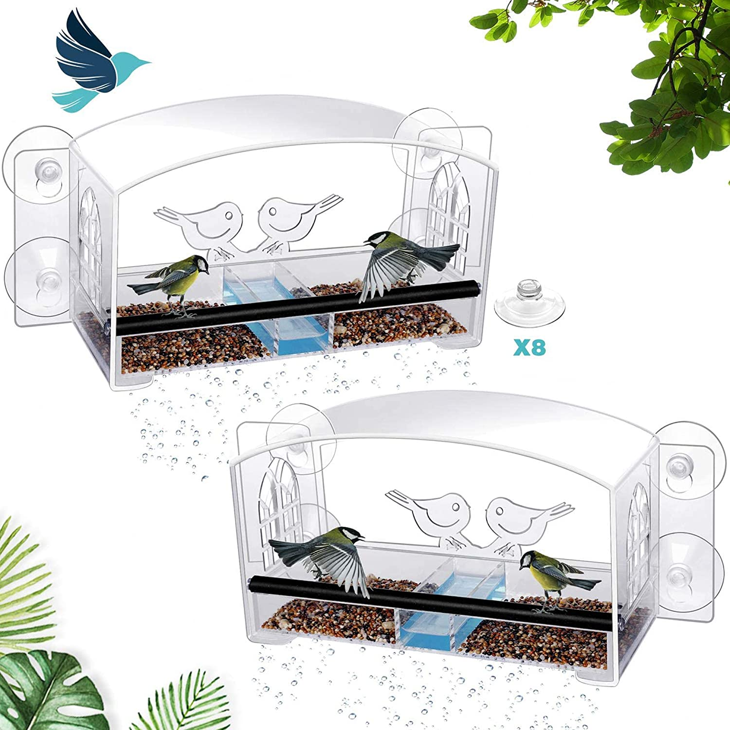 MIXXIDEA Clear Window Bird Feeder with Refillable Acrylic Sliding Seed Tray Holder with Drain Holes, Super Strong Suction Cups , Transparent Viewing Outside Hanging Kit for Wild Birds(Pack of 2)