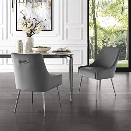 premium selection 872d2 94841 InspiredHome Grey Velvet Dining Chair - Design: Christine | Armless | Set  of 2 | Knob Handle | Stainless Steel Legs