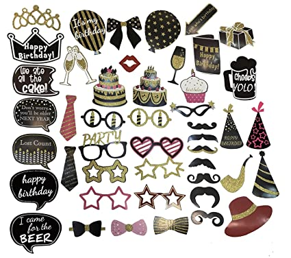 Xshine Happy Birthday Decorations DIY Photo Booth Prop Kits With Stick For Party Favor Supplies