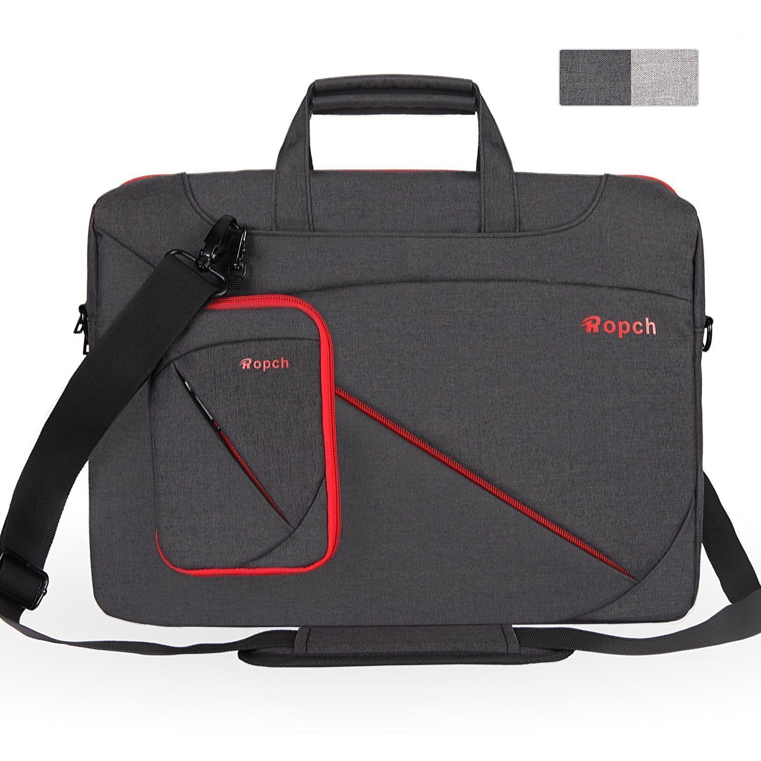 Ropch 17.3 Inch Laptop Bag Universal Computer Messenger Bag, Nylon Water Resistant Business Briefcase with Handles, Shoulder Strap Carrying Case for Tablet/Notebook - Black