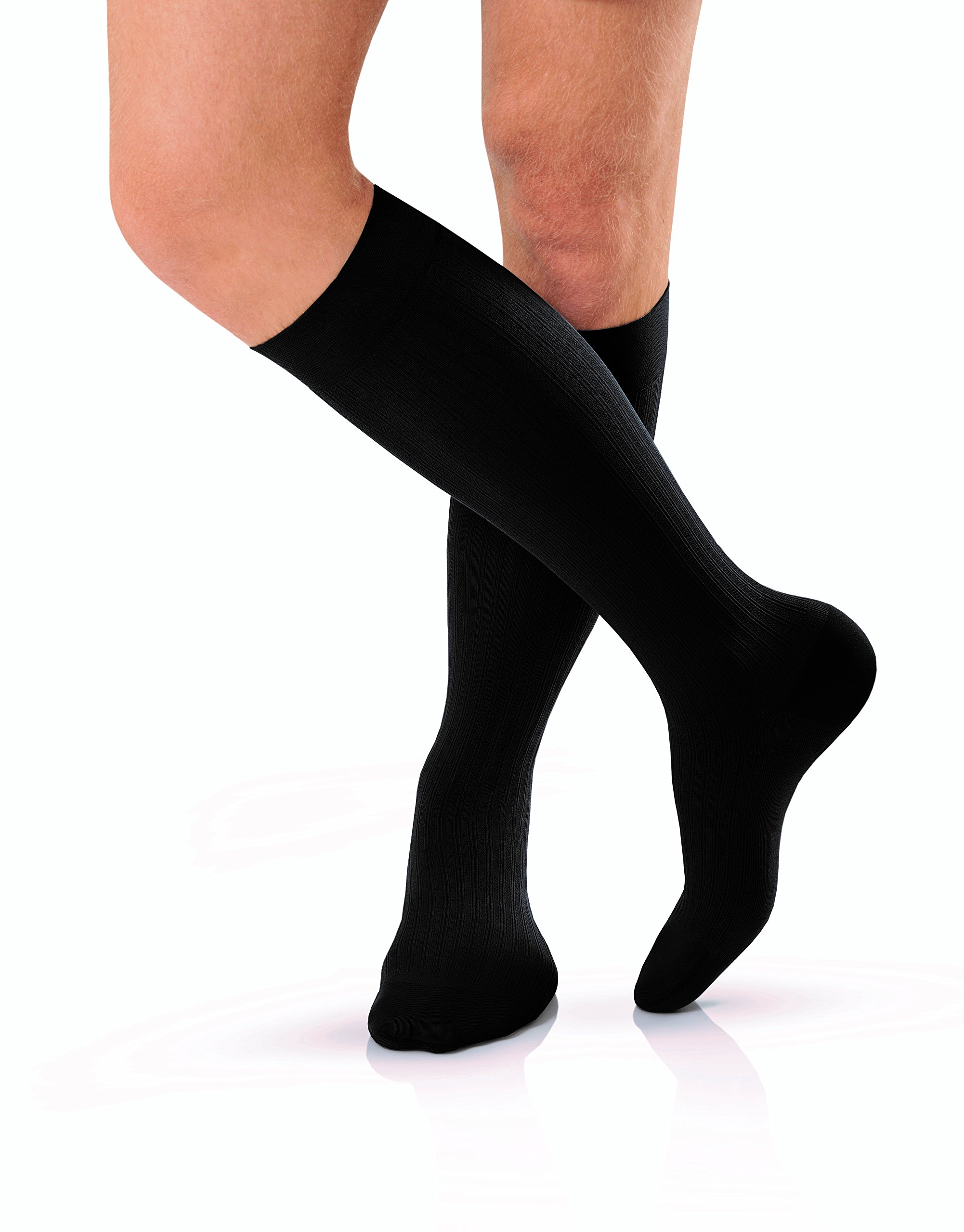 JOBST forMen Knee High 20-30 mmHg Ribbed Dress Compression Socks, Closed Toe, X-Large Full Calf, Black