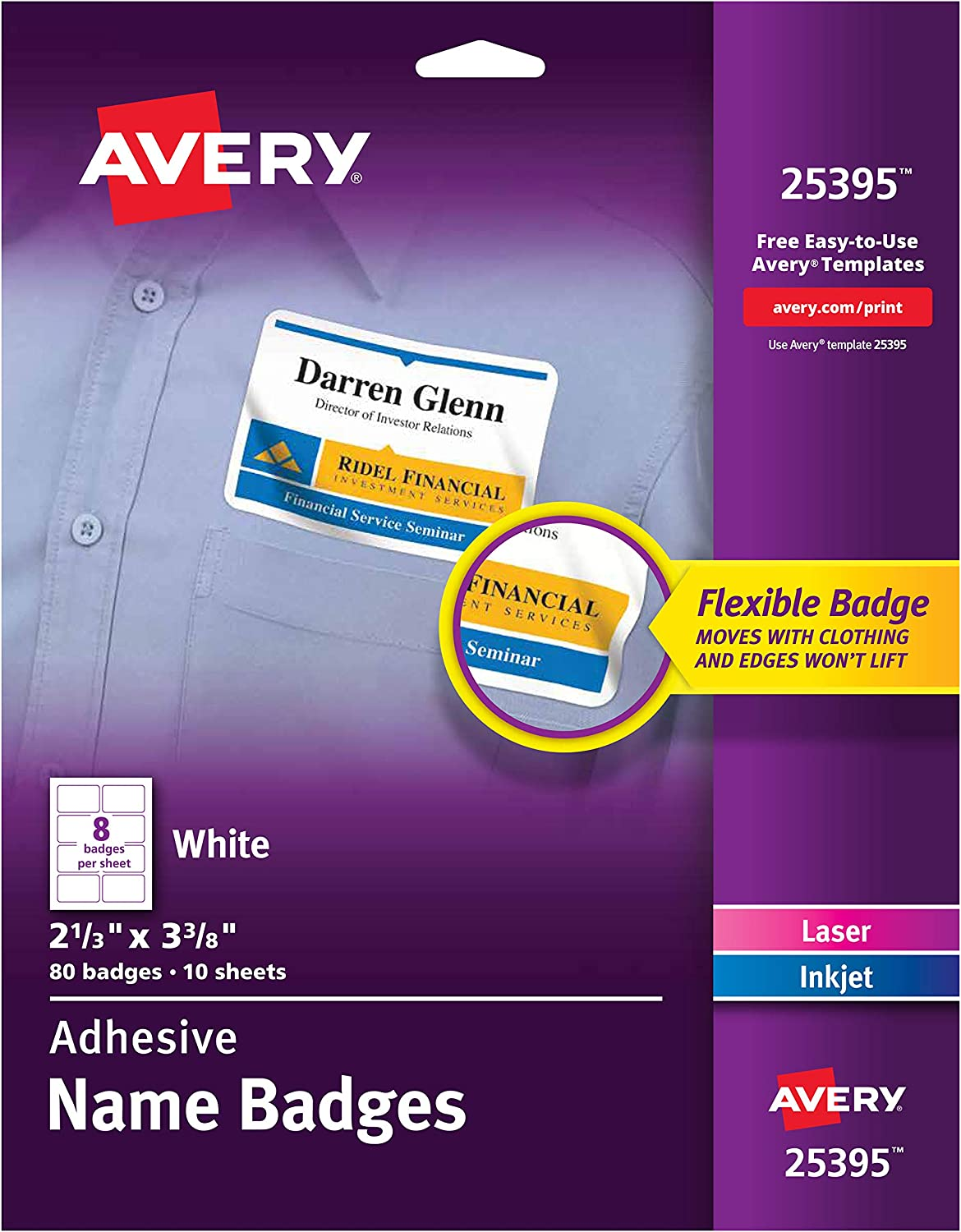 "AVERY Flexible Name Tag Stickers, White Rectangle Labels, 80 Name Badges, 2-1/3"" x 3-3/8"" (25395)"